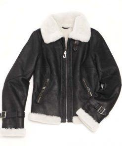 Michelle Sheepskin Fur Jacket aviator bomber sheepskin fur jacket with zipper