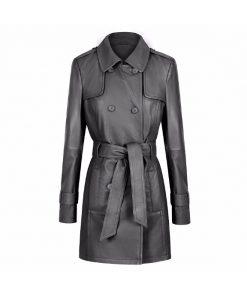 Georgia Ladies Leather Trench Coat soft lambs leather trench coat sale