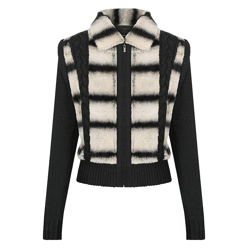 Anna Ladies Fur Jacket knited ladies genuine leather and fur sale