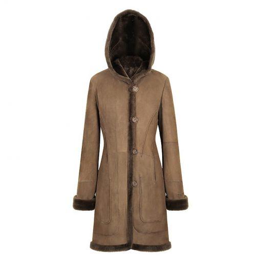 Iris Ladies Long Sheepkin Coat Hoohed Sheepskin coat genuine lamb skin double face suede sale