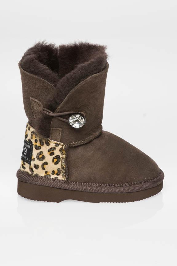 Kids Single Button Cheetah Print Heel Made With Swarovski